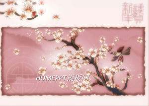 elegant plum background spring festival new year ppt template download