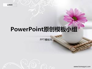 Elegant White Background Flower Theme PPT Template Download