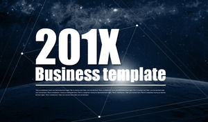 European and American business PPT template with blue cosmic sky background