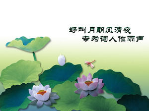 Exquisite and elegant lotus background plant type PPT template