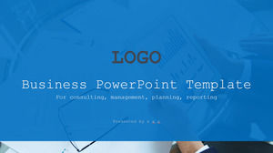 Exquisite business big picture typesetting blue gray flat wind work summary report ppt template