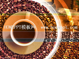 Exquisite coffee background PPT template download