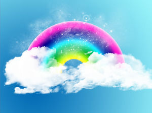 Exquisite dynamic blue sky white clouds rainbow PPT background picture