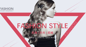 Female fashion PPT template for European and American supermodel background