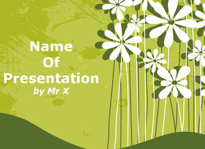 Flowers Over Green Background Powerpoint Template Powerpoint Templates Free Download