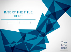 Foreign blue origami background art design PowerPoint template;