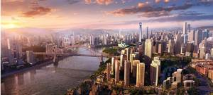 Foreign high-rise towering modern city and bridge PPT background picture