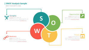 Four-color SWOT analysis PPT template with icon