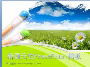 Fresh and elegant natural scenery slide template download