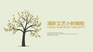 Fresh and elegant small tree universal PPT template