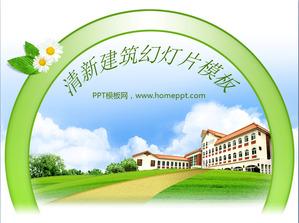 Fresh and elegant villa background slide template download;