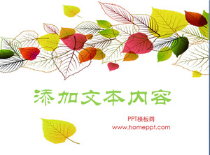 Fresh cartoon style foliage PPT template
