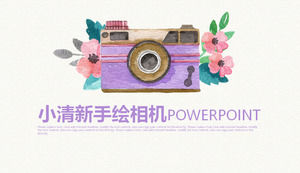Fresh watercolor camera background photography PPT template, photography PPT template download