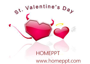 Fun love devil valentine section PPT template