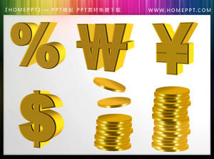 Gold coin currency symbol PowerPoint icon material download