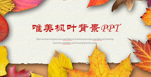 Golden Falling Leaves Background PPT Template, Plant PPT Template Download