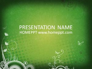 Green Illustration Background Art PPT Template Download
