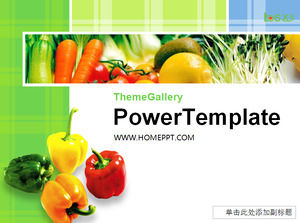 Green Vegetable Background Food PPT Template