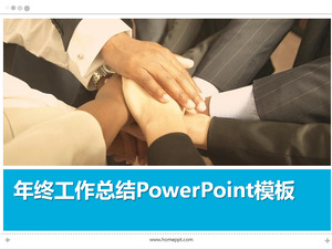 Handshake background work summary PowerPoint template