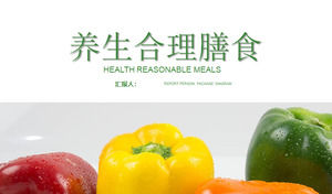 Healthy diet PPT template with green vegetables background