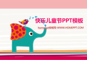 Illustration wind design children's day bird and elephant happy play free ppt template download