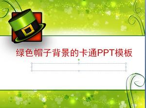 korean fresh green straw hat background cartoon powerpoint template