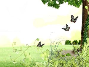 Lawn Tree Butterfly Flower Natural PPT Background Image