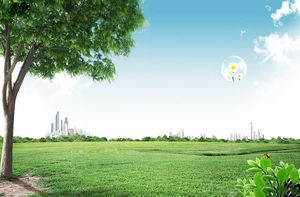Lawn tree city building PPT background picture