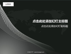 Lines with world map background business slides template