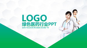 Medical workers background green medical pharmaceutical industry PPT template
