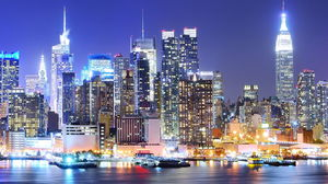 Modern city night view PPT background picture
