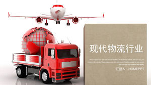 Modern logistics PPT template with airplane and truck background