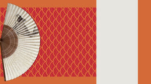 Origami fan poetry theme passion orange flat Chinese style ppt template