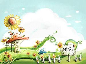 塗装緑色植物の漫画pptの背景画像 powerpointテンプレート無料ダウンロード