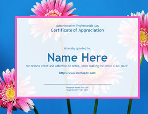 Pink flower plant PPT template download