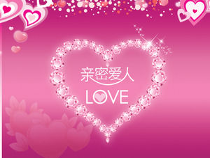 Pink love theme Valentine 's Day PPT template download