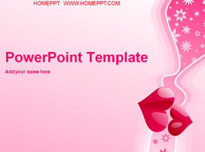 Pink romantic love background love PPT template