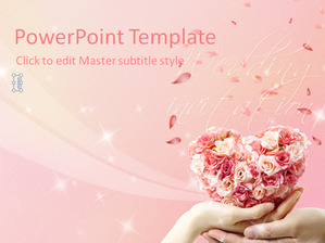 Pink Rose Background Romantic Wedding PPT Template