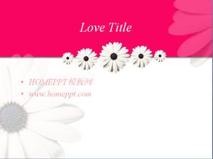 Pink sunflower background love PPT template