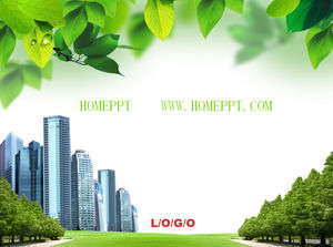 Plant background city building PPT template download