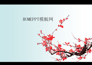 Plum background Chinese wind PPT template download
