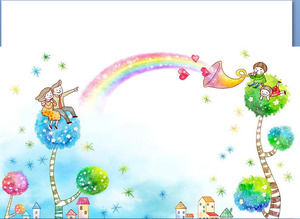 Rainbow Windmill 61 Children's Day PPT background picture