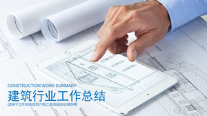 Real estate PPT template on architectural drawings background