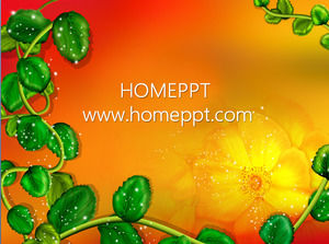 Red background cartoon plant PPT background template