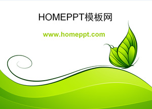 Simple cartoon green butterfly background PPT template download