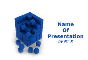Small Blue Cubes Built Together powerpoint template