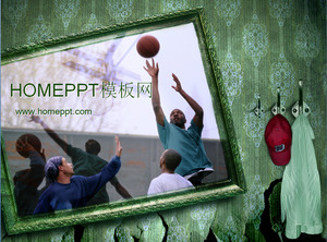 Street basketball background sports sports PPT template download