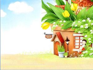 Sun Bunga Pohon Rumah Kartun Gambar Latar Belakang PPT PowerPoint Template  Free Download