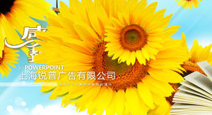 Sunflower blossom Thanksgiving Teacher Day PPT template