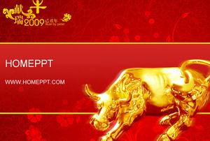 taurus background year of the ox chinese new year ppt template